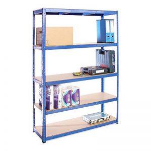 180 cm x 120 cm x 40 cm, Bleu, 5 niveaux (175 kg par étagère), capacité de 875 kg, Extra-Large. Garage, abri de jardin, étagère de rangement, 5 ans de garantie. de la marque G-Rack image 0 produit