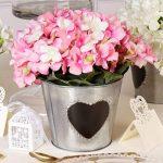 Antique rustique style Zinc Intérieur/extérieur Pot de fleurs avec superbe Tableau noir en forme de cœur pour personnaliser le contenu–Idéal cadeau Saint-Valentin. Charmant Country Style Pot H13,5X D16cm de la marque Dibor image 3 produit