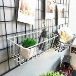 Anzome en filet Blanc mural en fil métal Grille de panier, panneau à suspendre, bac support mural Organiseur, fil de stockage étagère Rack pour maison Fournitures, décoration murale Taille 23,1x 9,9x 7,9cm/23x 10x 8cm de la marque ANZOME image 1 produit