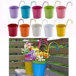 Assortiment de 10pots de fleurs colorés à suspendre sur balcon, métal de la marque Ndier image 1 produit