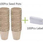 Augola Biodégradable Fibre Pots de semences pour Semis avec 100Pcs Plastique étiquettes pour Plantes 6x6cm Beige de la marque Augola image 5 produit