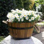 Bac à plantes, bac à fleurs en bois d'acacia, lot de 3 cuviers en bois, tonneau en bois utilisable comme pot de fleurs pour jardin, seau en bois, par Park Alley de la marque Park Alley image 3 produit