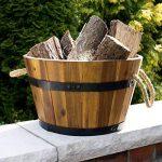 Bac à plantes, bac à fleurs en bois d'acacia, lot de 3 cuviers en bois, tonneau en bois utilisable comme pot de fleurs pour jardin, seau en bois, par Park Alley de la marque Park Alley image 4 produit