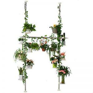 Baoyouni Pieds de plantes d'intérieur à ressort double tension Pole Fleur Métal Display Rack Space Saver Coin Floral Pot étagère de rangement avec 12bacs, 2crochets et 1tige télescopique pour étendoir à linge Cintre, Ivoire de la marque BAOYOUNI image 0 produit