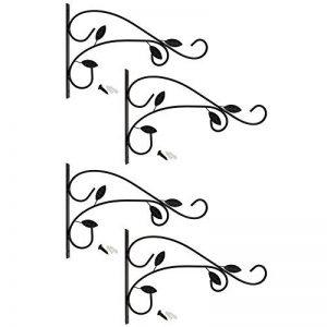 COM-FOUR® 4x Support mural en acier thermolaqué pour suspendre des paniers, des carillons éoliens, etc. dans la conception de volute avec vis et chevilles, environ 31 x 21 cm (04x Feuille) de la marque COM-FOUR image 0 produit