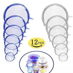 Couvercle en Silicone Stretch 12 PCS Couvercle en Silicone Couvre-Savon Couvre-Couvercle en Pot Couvre-BPA-sans BPA, lave-vaisselle, micro-ondes, four et congélateur coffre-fort de la marque HOBFU image 0 produit