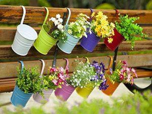 Dipamkar® - 10pots de fleurs à suspendre pour balcon, jardin, déco - en métal avec crochet amovibleettrou de drainage de la marque Dipamkar image 0 produit
