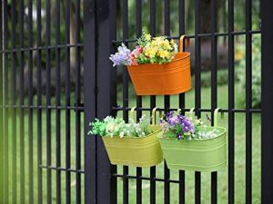 Dipamkar® Lot de 3pots de fleurs à suspendre en métal avec trou de drainage pour balcon, rebord de fenêtre, jardin de la marque Dipamkar image 0 produit