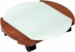 dobar Chariot pour plantes rond ou carré en bois FSC et en verre pour intérieur et extérieur, résistant aux intempéries, blanc/marron Rond marron de la marque dobar image 0 produit