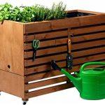 dobar Jardinière surélevée en bois sur roulettes (pin, marron) avec fond, kit de semis de légumes, herbes, à installer dans le jardin et sur un balcon XL (100x50x71cm) - rollbar marron de la marque dobar image 2 produit