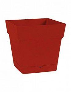 EDA Plastiques Pot TOSCANE carré avec Soucoupe clipsée 13641 R.RU SX6 Rouge/Rubis 17,4 x 17,4 x 17 cm de la marque EDA Plastiques image 0 produit