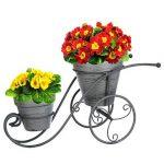 Ensemble de jardin intérieur ou extérieur : Porte plantes vélo + 1 Porte plantes à suspendre - Style Fer forgé - Coloris GRIS Patiné BLANC de la marque Atmosphera image 1 produit