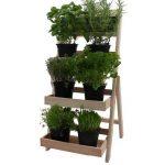 Escalier pour pots de fleurs en bois FSC® 74 x 39 x 40 cm avec tableau - Bois impregné et résistant aux intempéries et durable en couleur bois naturel de la marque PROHEIM image 2 produit