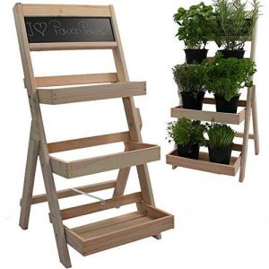 Escalier pour pots de fleurs en bois FSC® 74 x 39 x 40 cm avec tableau - Bois impregné et résistant aux intempéries et durable en couleur bois naturel de la marque PROHEIM image 0 produit