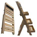 Escalier pour pots de fleurs en bois FSC® 74 x 39 x 40 cm avec tableau - Bois impregné et résistant aux intempéries et durable en couleur bois naturel de la marque PROHEIM image 4 produit