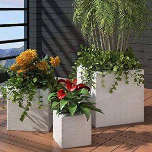 Festnight Lot de 3 Bacs Pots de Fleurs en Rotin Blanc de la marque Festnight image 0 produit