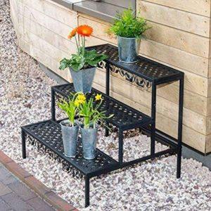 Fleur escalier support étagère de jardin Fleur Plante Étagère Étagère en escalier 3niveaux en acier inoxydable 70x 60x 60cm de la marque Emanhu Trading image 0 produit