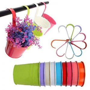 G2plus Lot de 10pots de fleurs à suspendre en fer avec trou d'évacuation, parfait pour le jardin ou la décoration intérieure de la marque G2PLUS image 0 produit