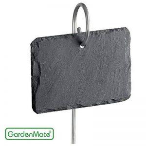 GardenMate® Lot de 10 signets marque-plantes en ardoise avec tiges métalliques - style naturelle de la marque GardenMate® image 0 produit