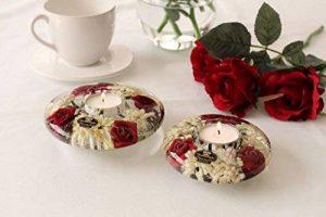Gilde Meubles, Décoration, Accessoires pour la Maison - bougeoir en Verre Décoré de Fleurs Blanches et Rouges de la marque Gilde image 0 produit