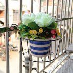 Gosear Support de Pot de Plantes, 3 pcs Métal Rond de Fleurs Porte-pot de Fleur, avec des Crochets, pour les Balustrades de Balcon de Jardin Noir de la marque Gosear image 3 produit