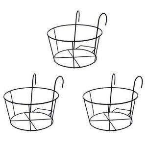 Gosear Support de Pot de Plantes, 3 pcs Métal Rond de Fleurs Porte-pot de Fleur, avec des Crochets, pour les Balustrades de Balcon de Jardin Noir de la marque Gosear image 0 produit