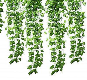 Guirlande Gofriend de 12mèches (25meters) en lierre artificiel et feuillage vert, fausse vigne à suspendre pour fête de mariage, jardin ou décoration murale de la marque GoFriend image 0 produit