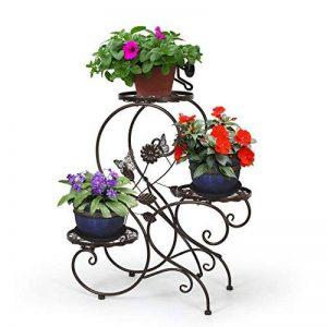 HLC-Bronze Porte Pot Pots de Plante Fleurs 3 Etagere Support Jardin en Metal Fer de la marque HLC image 0 produit