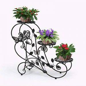 HLC-Noir Porte Pots Plante Fleurs 3 Etagere Support Jardin en Metal Fer de la marque HLC image 0 produit