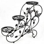 HLC-Noir Porte Pots Plante Fleurs 3 Etagere Support Jardin en Metal Fer de la marque HLC image 1 produit