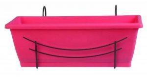 Jardinière Jardinière de balcon Rose–Set avec support–Longueur 50cm–Réservoir d'eau–Plastique de la marque Jardifer image 0 produit