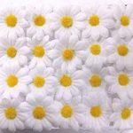 JZK 100 x Lifelike artisanat blanc artificiel marguerite tissu fleurs têtes, La table de fête de mariage diffuse les confettis, accessoires de scrapbooking bricolage, décorations de cartes de la marque JZK image 2 produit