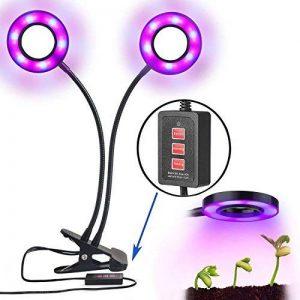 Lampe à plantes LED, Rixow Lampe à double tête de plante avec 360 degrés réglable flexible, minuterie de 3 modes (3H / 6H / 12H) pour le bureau de jardin Plantes aquatiques Fleurs Veg Seedling de la marque Rixow image 0 produit