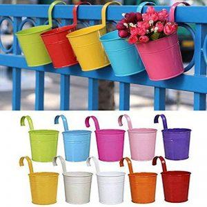 Lot de 10Pot de fleurs à suspendre en fer avec crochets amovibles et trous de drainage, pour décoration de la maison, du jardin ou du balcon. 10Pack de la marque Homelover image 0 produit