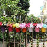 Lot de 10Pot de fleurs à suspendre en fer avec crochets amovibles et trous de drainage, pour décoration de la maison, du jardin ou du balcon. 10Pack de la marque Homelover image 3 produit