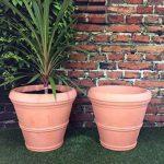Lot de 2grandes jardinières rondes - Effet terre cuite - Diamètre: 55cm - Hauteur: 49cm de la marque Victorian Garden & Lighting Company image 1 produit