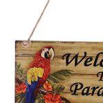 MagiDeal Plaque Bois Bienvenu Design Perroquet Hawaïen avec Décoration Suspendu pour Maison Jardin - Welcome to paradise de la marque MagiDeal image 2 produit
