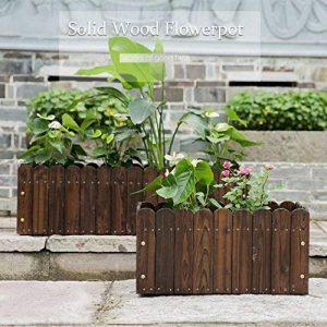 Malayas Bac à Fleurs en Bois Rectangulaire Jardinière Retro Pastoral pour Cultiver Plantes Fleurs Légumes Herbes 55 x 40 x 30cm Potager de Jardin de la marque Malayas image 0 produit