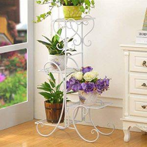 Malayas porte pots plante fleurs 4 étagères support jardin en métal fer pliable 80*50*25cm charge max 40kg blanche étagère à fleur de la marque Malayas image 0 produit
