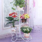 Malayas porte pots plante fleurs 4 étagères support jardin en métal fer pliable 80*50*25cm charge max 40kg blanche étagère à fleur de la marque Malayas image 1 produit