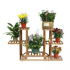 Malayas® Étagère à Fleurs en Bois Porte Pots de Plante Fleurs avec 6 Tablettes Escalier Présentoire de Jardin 96x26x71CM de la marque Malayas image 0 produit