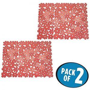 mDesign grand tapis d'évier – tapis de protection pour la cuisine et la salle de bains en lot de 2 – natte d'évier pratique – rouge de la marque MetroDecor image 0 produit