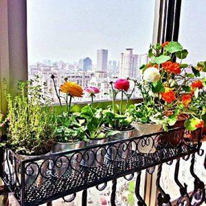 Milong Pot de fleurs à suspendre étagère Railing support de plantes de balcon support pour pot de fleurs Noir extérieur Fleur Cadre, Noir , 30 cm de la marque MiLong image 0 produit