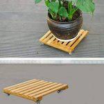 Mobile en bambou Pot chariot support de pot Dessous de Verre avec 4roues Rolling Base 25x25CM de la marque DreamColor image 2 produit