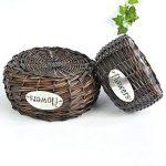 NACOLA rotin tissé de stockage de paniers de fleur tressé Planteur de décoration Pot de fleurs Vase à nourriture pour plantes d'intérieur ou extérieur, blanc, S:12(H) x20(Dia) cm de la marque NACOLA image 2 produit