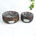 NACOLA rotin tissé de stockage de paniers de fleur tressé Planteur de décoration Pot de fleurs Vase à nourriture pour plantes d'intérieur ou extérieur, blanc, S:12(H) x20(Dia) cm de la marque NACOLA image 1 produit