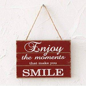 """Pancarte Suspendre en Bois Plaque """" Enjoy the moments that makes you smile"""" Design Vintage Décoration Maison Signs pour Home Café de la marque Huabei image 0 produit"""