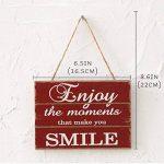 """Pancarte Suspendre en Bois Plaque """" Enjoy the moments that makes you smile"""" Design Vintage Décoration Maison Signs pour Home Café de la marque Huabei image 2 produit"""