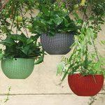 Panier de fleurs en rotin à suspendre - Pot de fleurs ou de plante grasse innovant pour décoration de balcon ou jardin gris de la marque Lembeauty image 1 produit