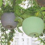Panier de fleurs en rotin à suspendre - Pot de fleurs ou de plante grasse innovant pour décoration de balcon ou jardin gris de la marque Lembeauty image 2 produit